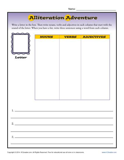 Alliteration Adventure Printable Worksheet Activity