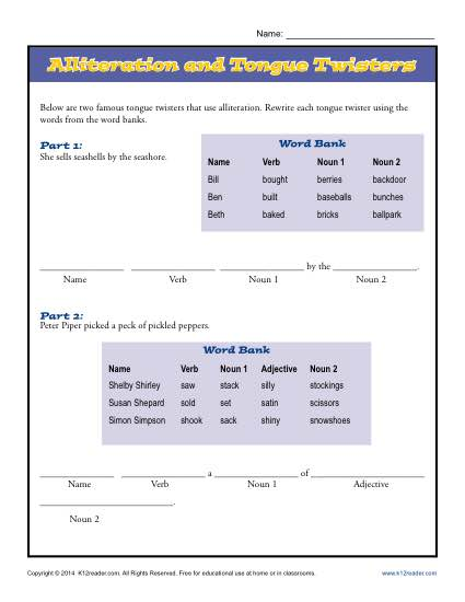 Alliteration And Tongue Twisters Printable Worksheet Activity