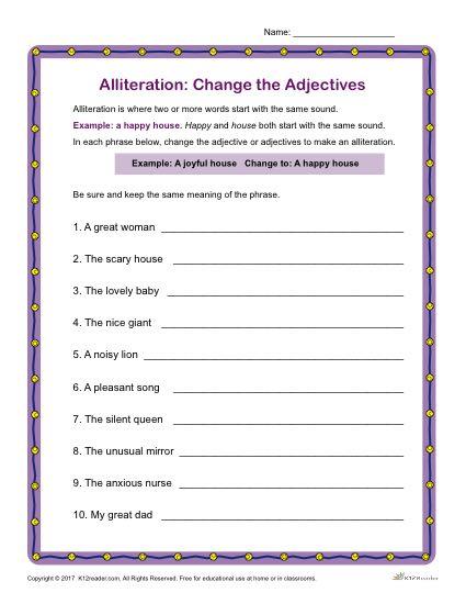 Alliteration: Change the Adjectives | Grammar Activity