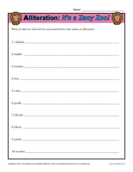Alliteration It's a Zany Zoo - Printable Worksheet Lesson Activity