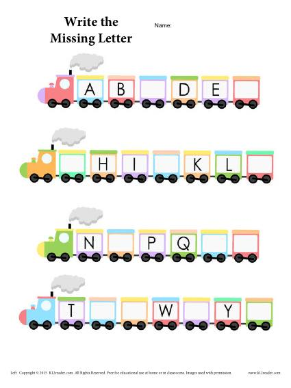 A to Z Alphabet Train Activity - Fill in the missing letter