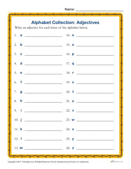Write an Adjective for Every Letter of the Alphabet Activity