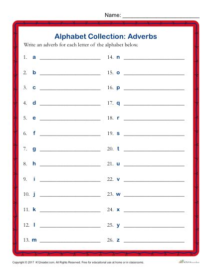 Write an Adverb for Every Letter of the Alphabet Activity