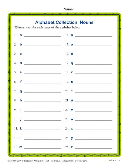 Write a Noun for Every Letter of the Alphabet Activity