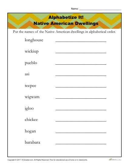 Native American Heritage Month Printable Activity about Dwellings