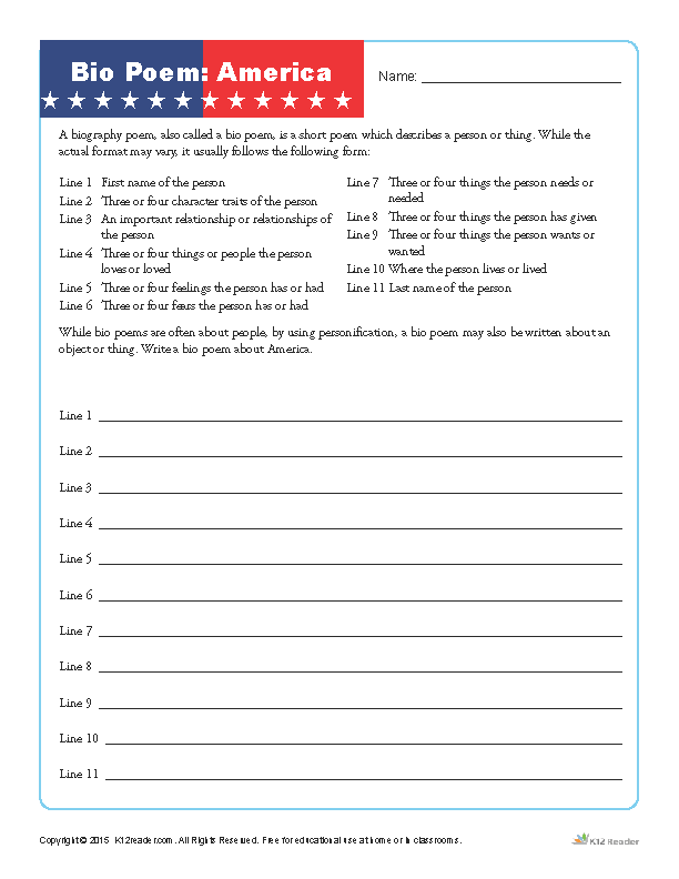 Fourth of July Printable Bio Poem Activity about America
