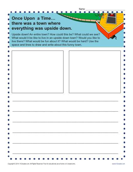Free printable Kindergarten writing prompt - An Upside Down Town!