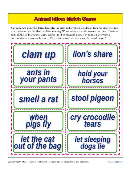 Animal Idiom Match Game Activity
