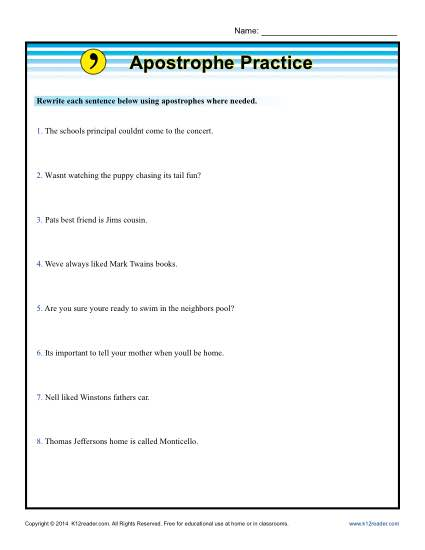 Apostrophe Practice Punctuation Worksheets