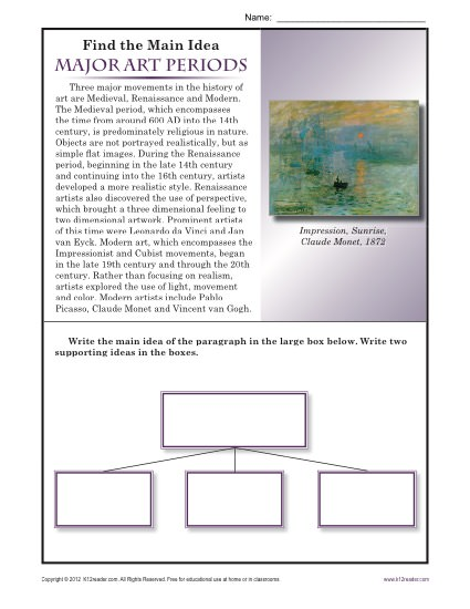 Main Idea Worksheet Activity about Major Art Periods