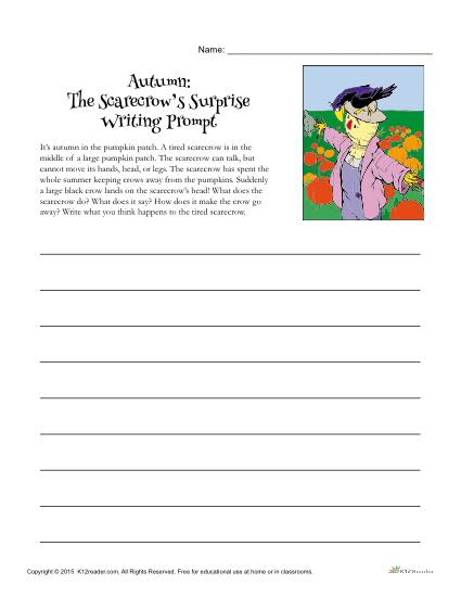 picture regarding Writing Prompts for 4th Grade Printable known as Autumn Creating Suggested The Scarecrows Question