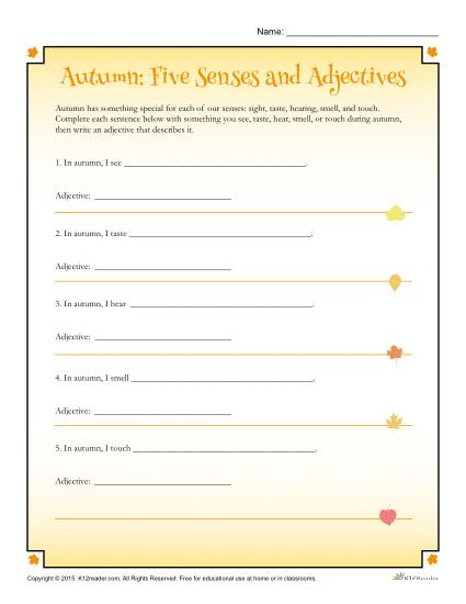 Autumn 5 Senses Worksheet Activity