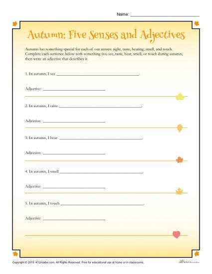 Autumn 5 Senses Worksheet Activity