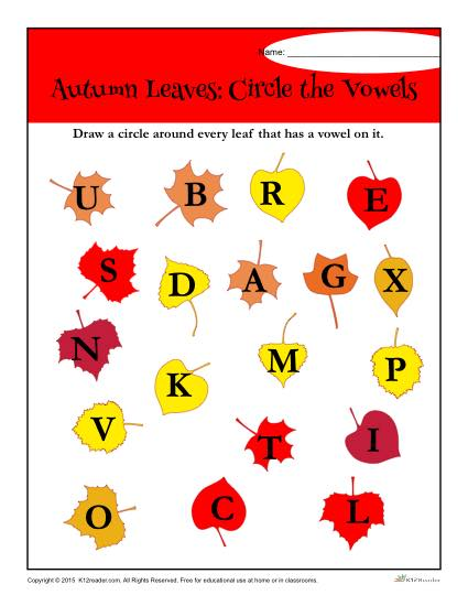 Autumn Leaves: Circle the Vowels Worksheet Activity