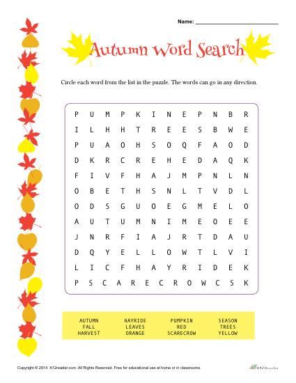 Autumn Word Search Activity