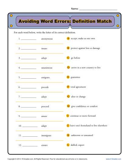 Commonly Confused Words Worksheet - Avoiding Word Errors