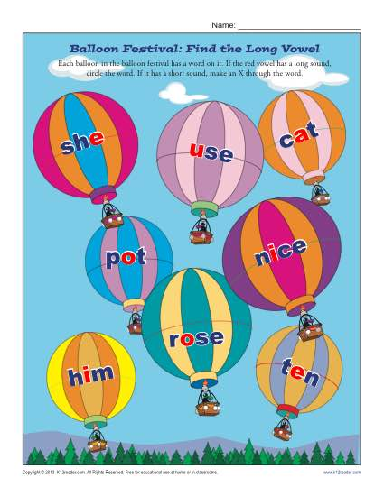 Balloon Festival - Find the Long Vowel Worksheet Practice Activity