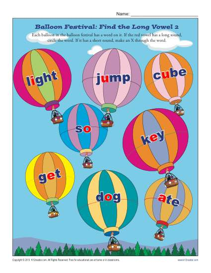 Balloon Festival 2 - Find the Short Vowel - Free, Printable Worksheet Lesson Activity