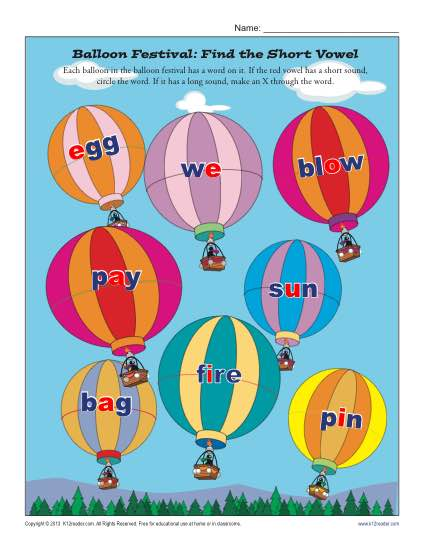 Balloon Festival: Find the Short Vowel | Printable Worksheets