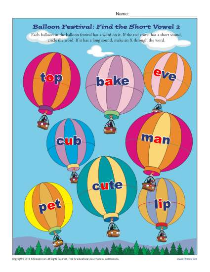 Balloon Festival - Find the Short Vowel - Free, Printable Worksheet Lesson Activity