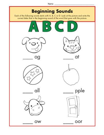 Beginning Sounds Worksheets - ABCD | Phonics Worksheet