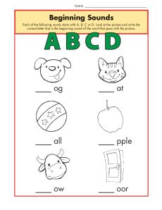 Beginning Sounds Worksheet Practice Activity - abcd