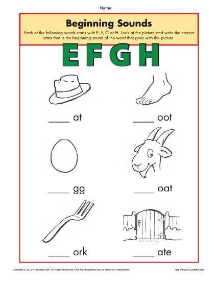 Beginning Sounds Worksheets - EFGH | Phonics Worksheet
