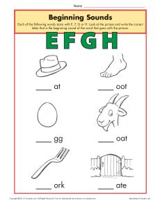 Beginning Sounds Worksheet Practice Activity - efgh