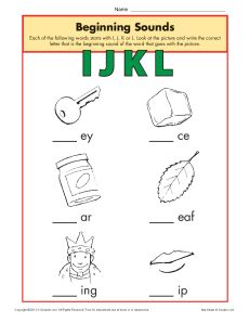 Beginning Sounds Worksheet Practice Activity - ijkl