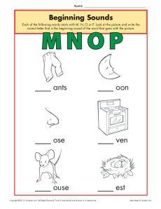 Beginning Sounds Worksheet Practice Activity - mnop