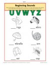 Beginning Sounds Worksheet Practice Activity - uvwyz