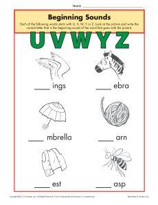 Beginning Sounds Worksheet Practice Activity - uvwyz