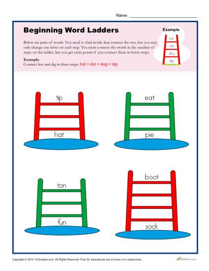 photo about Word Ladders Printable named Commencing Phrase Ladders Worksheet for 2nd, 3rd and 4th Quality