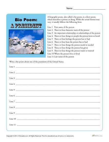 photo relating to Printable Biography Worksheets named Bio Poem Recreation: A U.S. President