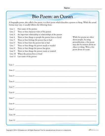 picture regarding Free Printable Ocean Worksheets identify Bio Poem Video game: An Ocean Personification Worksheet