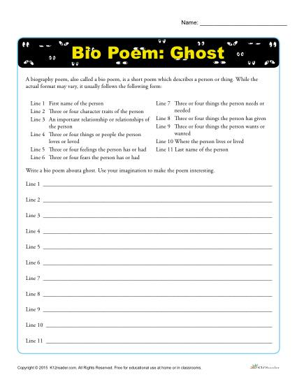 Bio Poem Activity - Halloween Ghost-1