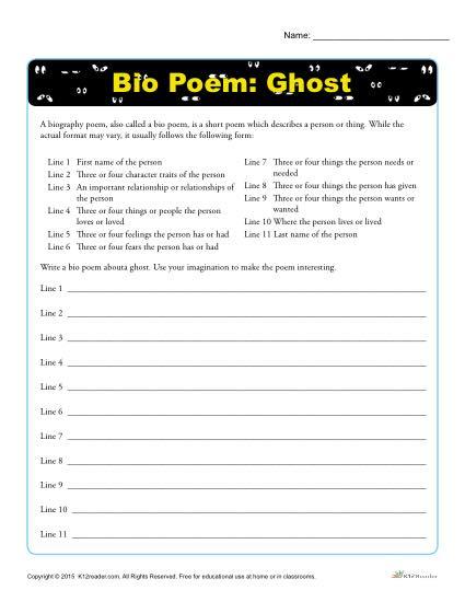 Bio Poem Activity - Halloween Ghost-1