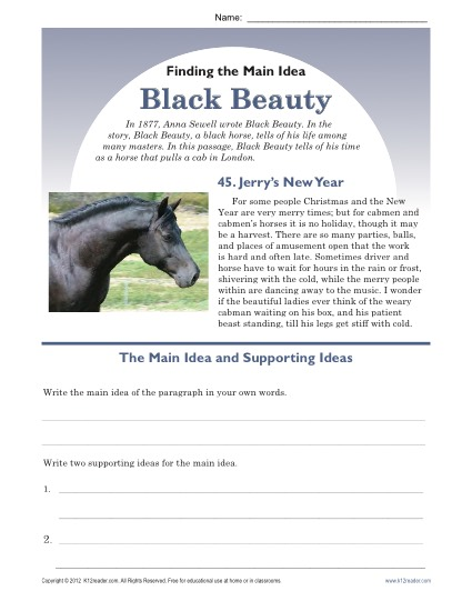 Printable Main Idea Worksheet about Black Beauty