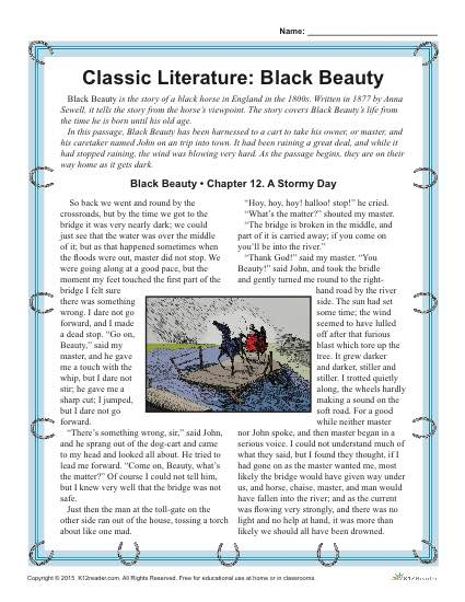 Black Beauty - Printable Reading Comprehension Set