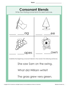 Consonant Blends Worksheet Phonics Blends Worksheets 1st Grade Consonant Blends Worksheets For Grade 2 #1