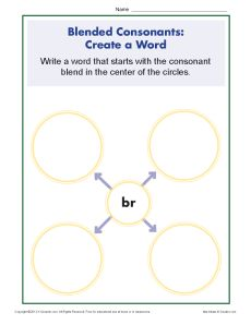 Blended Consonants Worksheet - Creating New Words with BR