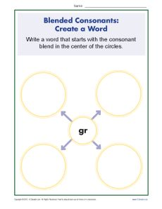 Blended Consonants Worksheet - Creating New Words with GR