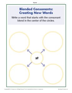 Blended Consonants Worksheet - Creating New Words with ST