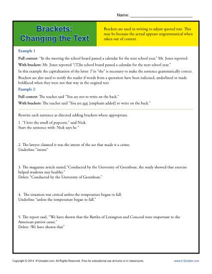 Brackets: Changing the Text - Punctuation Worksheet Activity