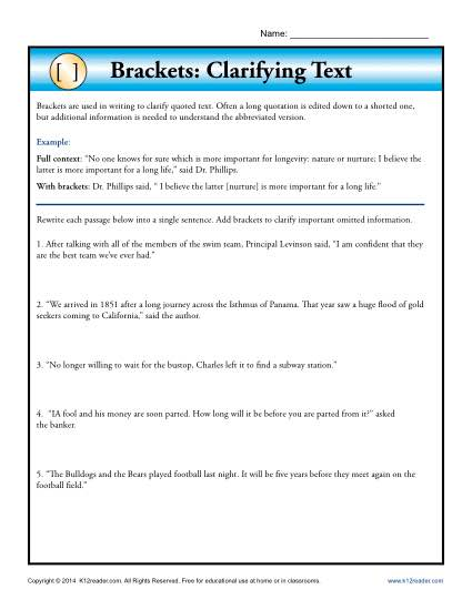 Brackets: Clarifying Text | Punctuation Worksheets