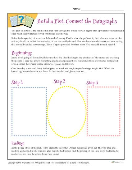Building a Plot Worksheet Activity - Connect the Paragraphs