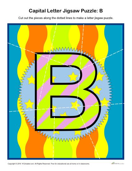 Preschool Alphabet Activity - Printable Capital Letter B Jigsaw Puzzle