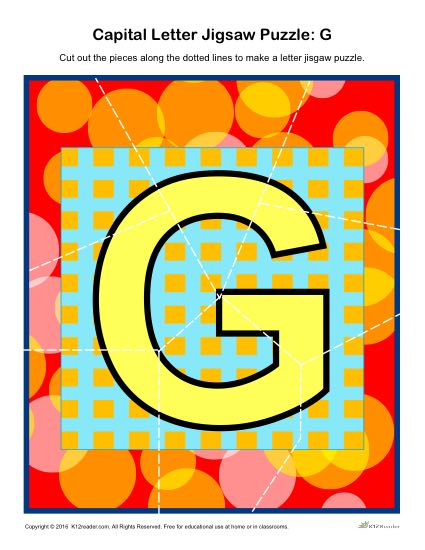 Preschool Alphabet Activity - Printable Capital Letter G Jigsaw Puzzle