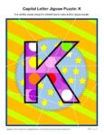 Preschool Alphabet Activity - Printable Capital Letter K Jigsaw Puzzle