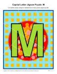 Preschool Alphabet Activity - Printable Capital Letter M Jigsaw Puzzle